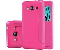 Кожаный чехол-книжка Nillkin Sparkle для Samsung J320F Galaxy J3 (2016) розовый