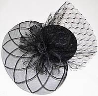 Шляпка с розочкой (черная)