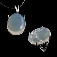 Місячний камінь молочний, срібло 925, кільце, кулон комплект