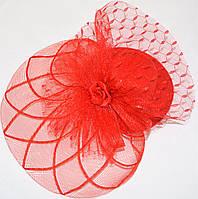 Шляпка с розочкой (красная)