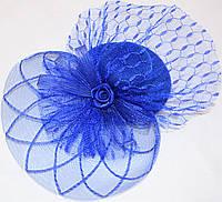 Шляпка с розочкой (синяя)