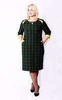 Трикотажное женское платье большого размера в клетку 541