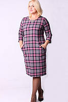 Женское платье большого размера в клетку 550