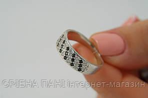 Женское колечко из серебра Свидание с белыми и черными циркониями