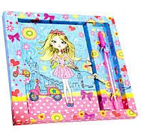 Голубой блокнот для девочки с ручкой