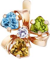 Серьги золотые с цветными полудрагоценными камнями