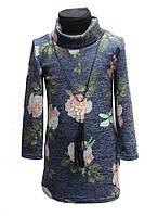 Подростковое  теплое платье-туника Роксана розочка134-152