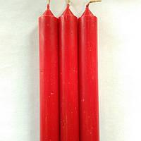 Свеча столовая красная  h- 14 см