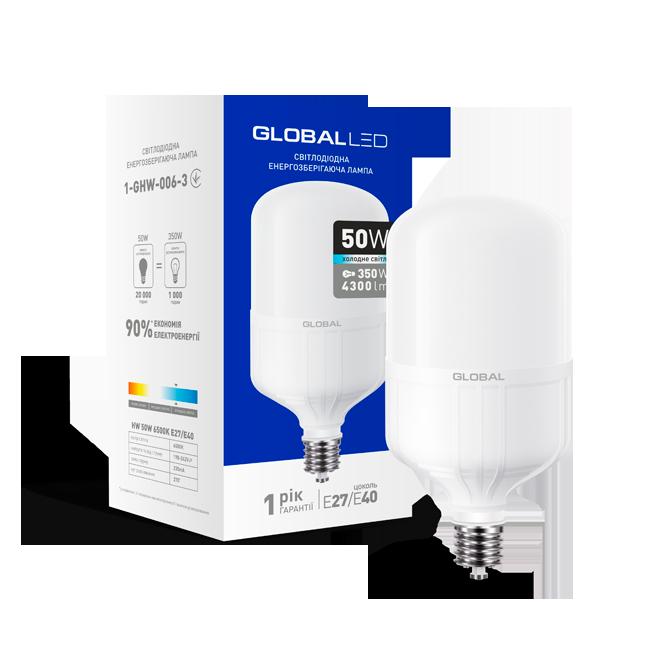 Светодиодная лампа высокомощная GLOBAL 1-GHW-006-3 50W 6500K E27/Е40 Код.57059