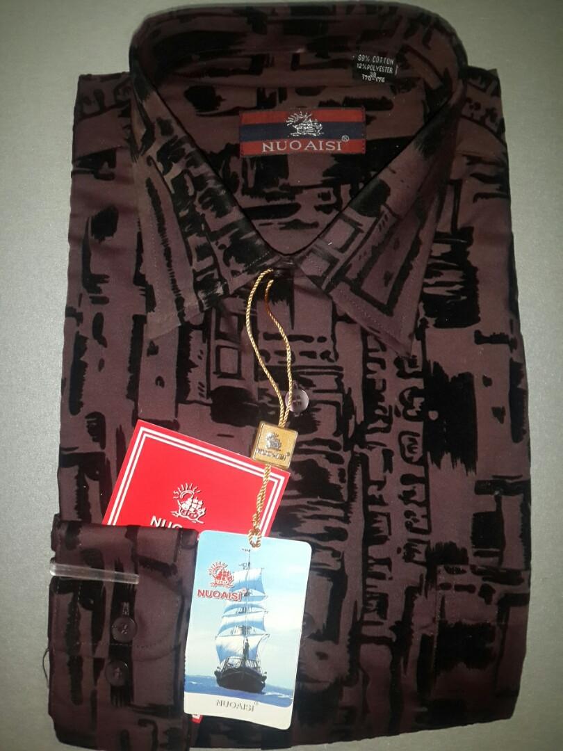 Классическая бордовая мужская рубашка (39 размер)