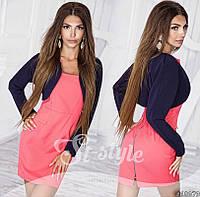 Модный костюмчик, розовое платье + синее болеро. Арт-8722/65