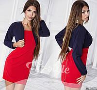 Модный костюмчик, красное платье + синее болеро. Арт-8722/65