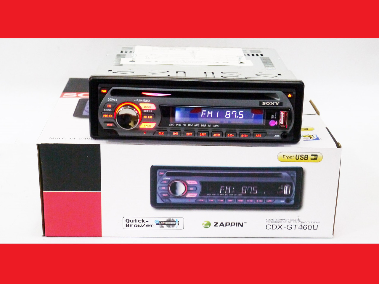 Sony CDX-GT490U Автомагнитола DVD+USB+Sd+MMC съемная панель , фото 1