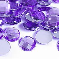 Акриловые Стразы - Кабошоны, Граненые, Плоские Круглые, Цвет: Темно-фиолетовый, Размер: 12х4мм, (УТ0030111)