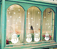 """Набор новогодних силиконовых наклеек   """"Снеговики"""""""