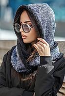 Женский вязаный капор на меху (разные цвета)