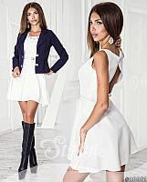 Шикарный костюм, платье с вырезом на спине, пиджак на пуговицах, белое платье+ синий пиджак. Арт-8723/65