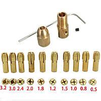 Патрон цанговый на вал 2.3 мм. зажим 0.5 мм. - 3.2 мм. + 10 цанг + ключ. Для  мини дрели