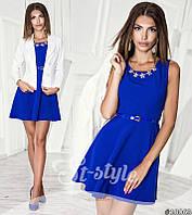 Шикарный костюм, платье с вырезом на спине, пиджак на пуговицах, синее платье+ белый пиджак. Арт-8723/65