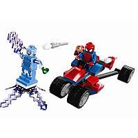 Игрушечный набор Конструктор Bela Супер герои Трехколесный мотоцикл человека паука против Электро 69 деталей