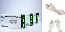 """Перчатки латексные смотровые нестерильные с пудрой """"Medicare"""" 100 шт/уп (XS,S,M,L,XL)"""