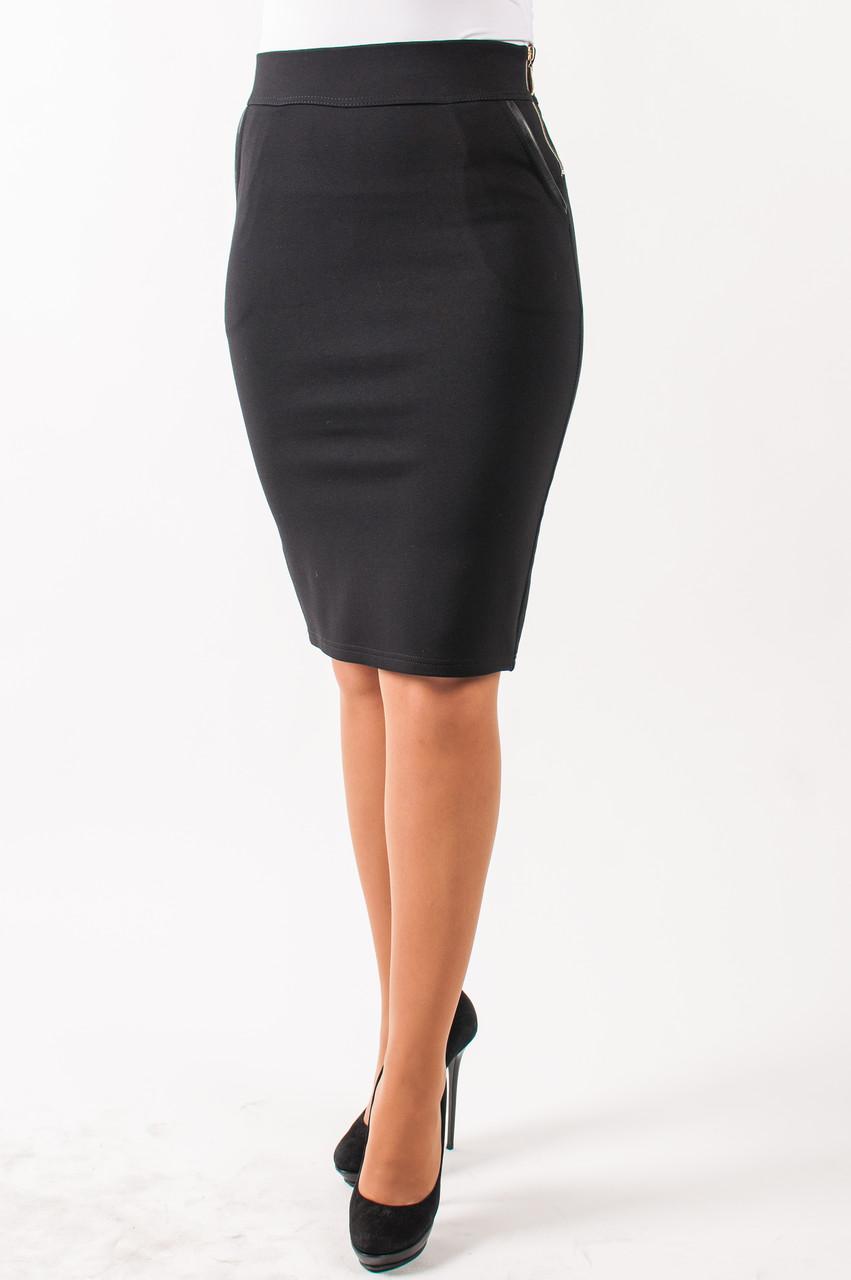 Молодежная юбка черного цвета на байке, Лола размер 46