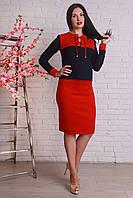 Модный женский костюм из трикотажа и замши, фото 1