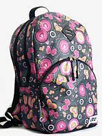 Рюкзак молодежный спортивный UPS00102-4, чёрный с цветочным принтом