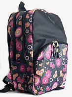 Рюкзак молодежный спортивный UPS00102-5, чёрный с цветочным принтом