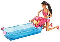 "Игровой набор Барби ""Гонки щенков в бассейне"", афро-американка / Barbie Swim and Race Pups African-American Do"