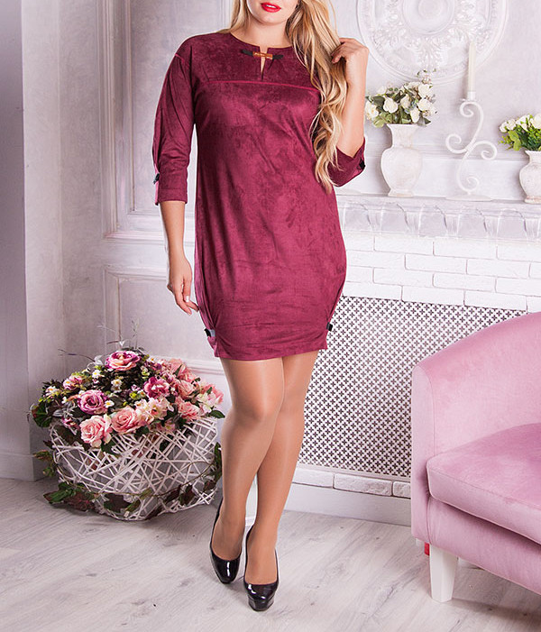 """Замшевое женское платье """"Уллис"""", размеры от 48 по 54"""