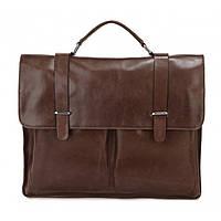 Кожаный мужской портфель TIDING BAG 7100В коричневый