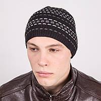 Современая мужская вязаная шапка в полоску - Артикул m15с