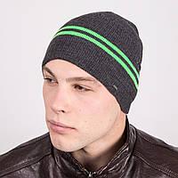 Стильная мужская вязаная шапка в полоску - Артикул m16a