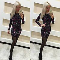 Короткое теплое платье с цветами