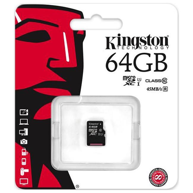 Карта памяти microSDXC (UHS-1) Kingston 64Gb class 10 R45MB/s - Интернет-магазин flash-optom.com.ua - флешки оптом, карты памяти оптом, электорника оптом в Киеве