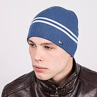 Зимняя мужская вязаная шапка в полоску - Артикул m16d