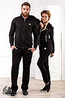 Мужской спортивный костюм черный на молнии атласными лампасами