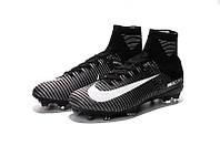 Футбольные бутсы Nike Mercurial Superfly V (найк меркуриал суперфлай) черно-белые