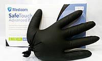Нитриловые ЧЕРНЫЕ перчатки Medicom, Медиком, размер M, 100шт/уп