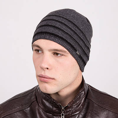 Мужская стильная зимняя шапка в полоску - Артикул m24а