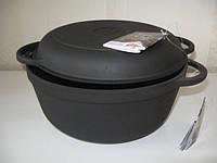 Кастрюля  чугунная  с чугунной крышкой - сковородой. Объем 4,0 литра., фото 1