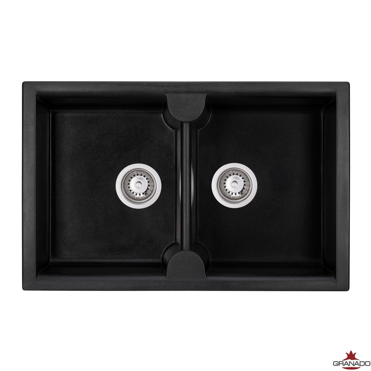 Мойка из гранита Cordoba Black Shine с двумя глубокими чашами прямоугольной формы от производителя Granado