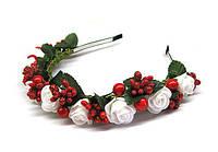 Ободок с цветами Розы и калина