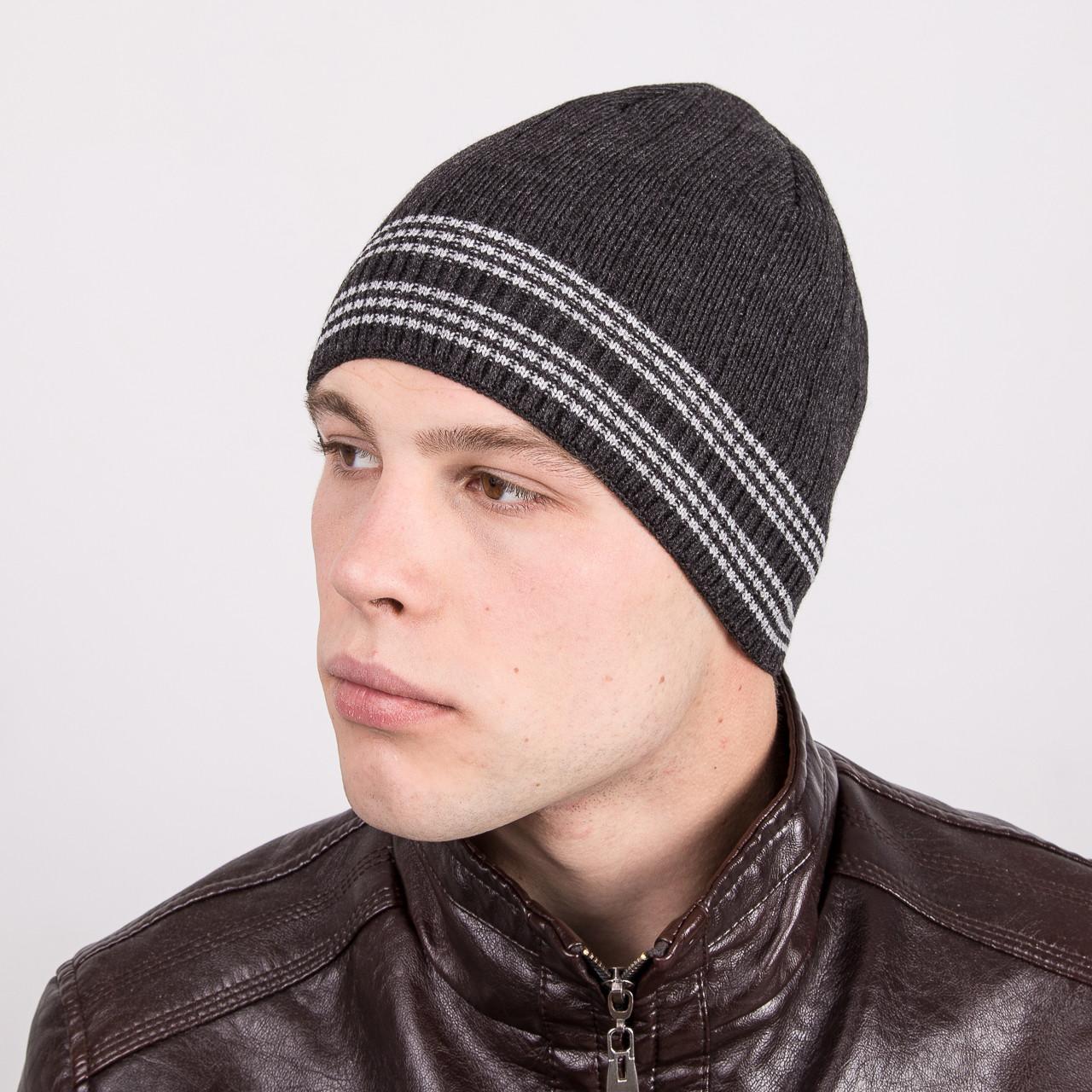 Вязаная мужская молодежная шапка в полоску - Артикул m32b