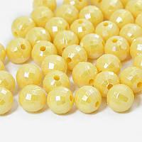 Бусины Акриловые Граненые, Круглые, АВ цвет, Цвет: Желтый, Диаметр: 10мм, Отверстие 2мм, около 100шт/50г, (УТ0030500)