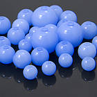 Бусины Акриловые Желейные, Круглые, Цвет: Голубой, Размер: Микс, Отверстие 2мм, около 140~235/50г, (УТ100005192)