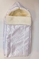 Зимний стеганный конверт-одеяло на выписку для новорожденных с боковыми застежками