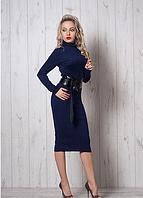 Темно-синее платье трикотажное с поясом из кожзама