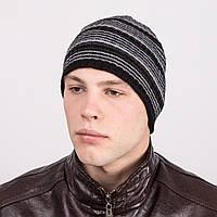 Брендовая вязаная мужская шапка в полоску - Артикул m35